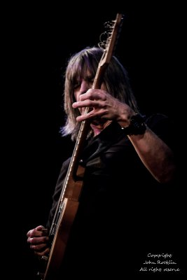 Mike Stern Trio, (Richie Morales on drums and Teymur Phell on bass) , 01.23.16 @ The Towne Crier Cafe, Beacon New York, . Credit: John Rocklin for Towne Crier. Photograph Copyright John Rocklin.